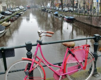 Bicycle Wall art - Pink Bike - Gift - Amsterdam - Print - Poster -  Photograph - Photo