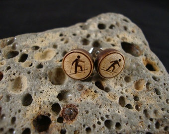 Round Stud / Post Earrings w/ Cross Country Skier engraving - Maple Wood - Small