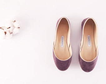 Purple Leather Ballet Flats   Ballerina Pumps   Flat Leather Shoes   Purple Love.  Ready to Ship