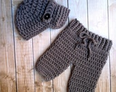 Oliver Newsboy Cap in Gray with Matching Pants Available in Newborn to 6 Month Size-  MADE TO ORDER