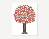 Vintage Look Tree Bridal Shower Gift Wedding - Blue Birds Love Tree - Wall Art Digital Print Monogram Name Date Engagement