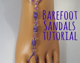 Barefoot Sandals - Toe Thong Tutorial - Instant Download