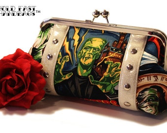 Monster Movie Clutch - Vinyl Bag - Halloween Purse - Rockabilly Purse - Frankenstein Bag - MADE TO ORDER