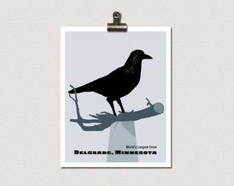 Giant Crow Statue Belgrade Minnesota Roadside Attraction Travel Poster Print