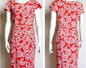 vintage 80s dress floral orange silk designer Genny small