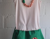 """Textile Necklace for Kids - """"Mushroom"""" (ready to ship)"""