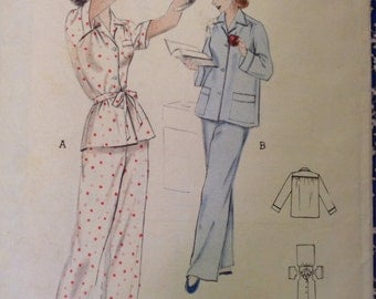 5 BUCKS Butterick 6330 quick & Easy Pajamas 1950s Sewing Pattern Bust 32""