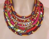 Orange necklace, African fabric necklace, statement jewelry, Tribal necklace, Multi strand necklace