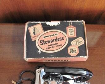 Vintage 50's Universal Stewardess Steam Travel Iron - Original Box - Model 1675 - AC Only - Suitcase - Vacation - Travel - Luggage