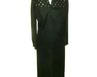 Vintage Black Maxi Rhinestone Dress