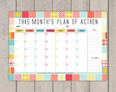Monthly Planner Printable DIY Organiser Mid Century Colourful Grid Pattern