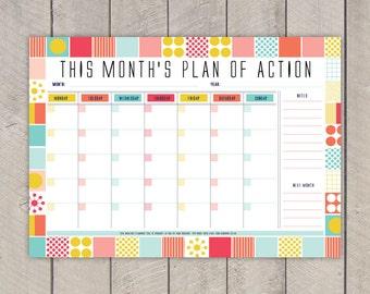 Monthly Planner Printable DIY Organiser Mid Century Colourful Grid Pattern