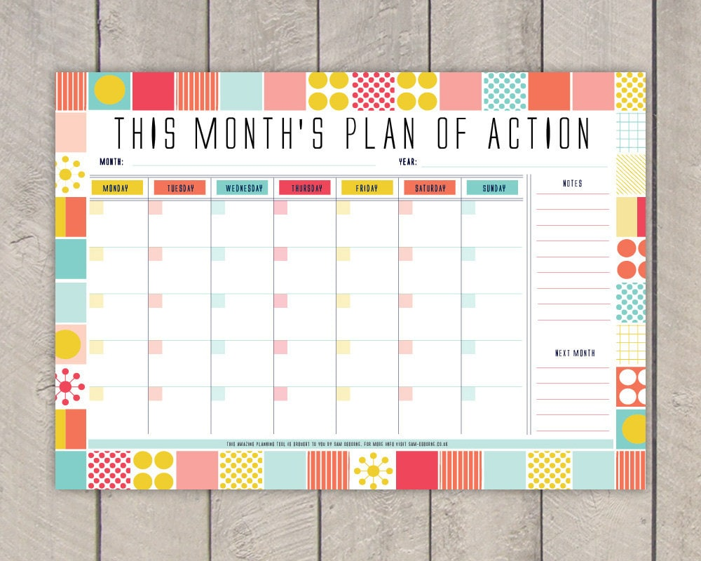 Monthly Planner Printable Diy Organiser Mid Century Colourful