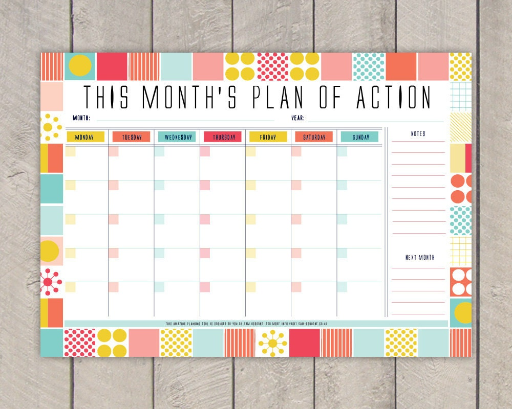 Diy Calendar Planner Template : Monthly planner printable diy organiser mid century colourful