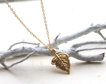 leaf charm necklace- FREE SHIPPING- woodland jewelry- gold plated necklace for the forest goddess - small dangle  gold leaf