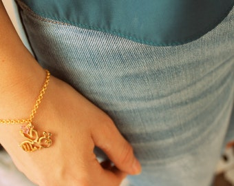 bee bangle bracelet-FREE SHIPPING-  gold plated 14k sterling silver charm bracelet- pink gold delicate jewelry