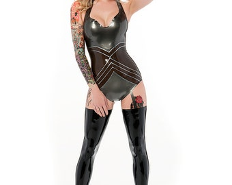 Madonna latex playsuit