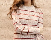 women's 90s simple STRIPED red SLOUCHY warm sweater