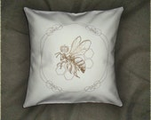 Queen Bee throw pillow cover 16x16 inch embroidered HBIC decorative pillow cover on ivory cotton