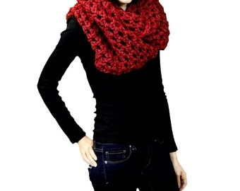 Chunky Oversized Infinity Scarf Cowl, Cranberry Red, Winter Accessories