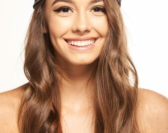 Hippie Chiffon Head wrap ,in eggplant,black and white, trendy, hair band  head wrap great for work out