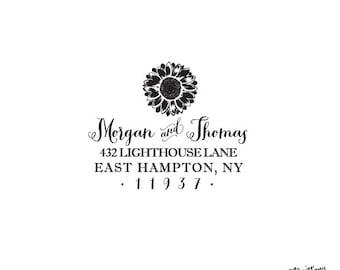 Housewarming Anniversary Wedding Gift Flower - Nature Stationery Personalized Custom Return Address Rubber Stamp or Self Inking - Sunflower