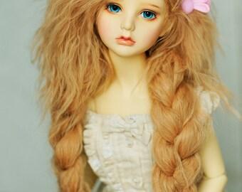"10in"" Long Blonde Wavy Tibetan Mohair Wig for Volks BJD SD Dolls"