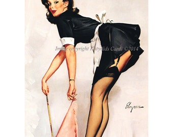 Elvgren Pinup Girl French Maid Risque Costume Repro Greeting Card