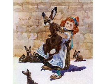 Redhead Girl with Bunny Rabbit - Ginger Kid Greeting Card from Vintage Image