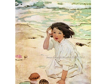Beach Magnet - Girl with Seashell at the Beach - Jessie Willcox Smith