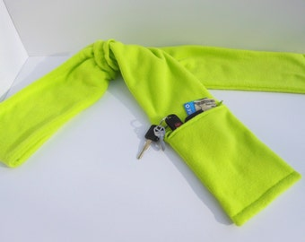 Zipper Pocket Fleece Scarf for Men and Women in Neon Green with or without fringe