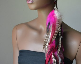 Extra Long Single Feather Earring Pink Black  Grizzly