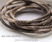Leather cord By the foot  4 mm round Nappa leather snake print round leather cord 4mm grey cord round cord matte finish