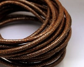 Brown leather cord By the foot Dark brown leather cord 4mm Faux Stingray print leather Galuchat 4 mm GALDKBROWN