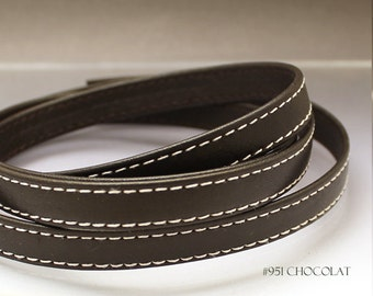 By the foot Flat Leather cord Dark brown leather strap Brown cord Brown leather Flat cord 10mm x 2mm stitched leather strap stitched cord