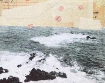 "Original Collage Art - ""Into the Sea"" Ocean Art, Modern Collage Art  by Angela Petsis"