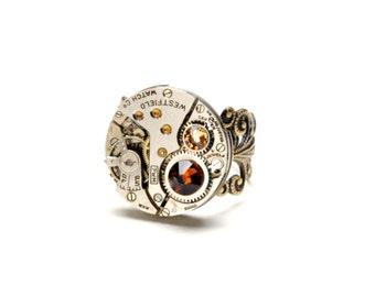 SMOKED TOPAZ Steampunk Ring NOVEMBER Steam Punk Ring Steampunk Watch Ring Birthstone Ring Victorian Steampunk Jewelry Victorian Curiosities