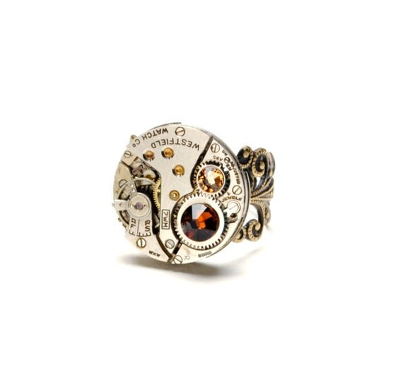 SMOKED TOPAZ Steampunk Ring NOVEMBER Steam Punk Ring Steampunk Watch Ring Birthstone Ring Victorian Steampunk Jewelry Victorian Curiosities