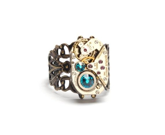 DECEMBER Steampunk Ring, BLUE ZIRCON Steampunk Vintage Watch Ring, Antique Brass Ring, Steam Punk Steampunk Jewelry By Victorian Curiosities