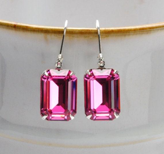 PINK Earrings, Rhinestone Earrings, OCTOBER Earrings, Bridesmaid Earrings, Vintage Earrings, Victorian Jewelry By Victorian Curiosities