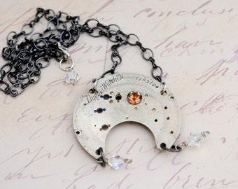 Steampunk Vintage Watchplate Necklace Silver Dueber
