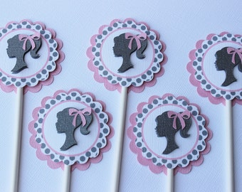 Silhouette girl- Barbie- Cupcake Toppers (12)