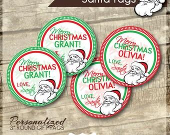 Printable Santa Tags - Santa Gift Tags -  Personalized Santa Tags - Holiday Rounds