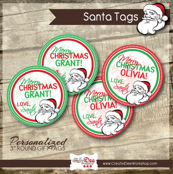Printable santa tags santa gift tags personalized santa like this item negle Images
