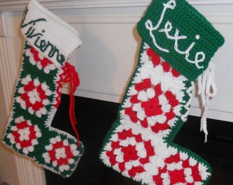 Christmas Stocking Pattern - Retro Granny Square Crochet - PDF, Tutorial, DIY ePattern - Unique Vintage Style