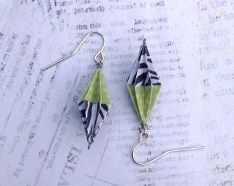 Origami Fluted Diamond Earrings // Zebra and Green Polka Dots