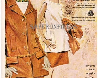 1960s Painterly Fashion Illustration Womens 3-Piece Suit by Dalton Double-Knit Wool Tan Gold Cream Fall Winter Fashion, Magazine Print Ad