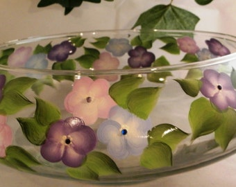 Hand painted bowl -Purple, Blue, and lavendar flowers