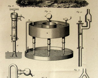 1852 vintage scientific apparatus hydrostatics hydrodynamics print, Antique science physics instruments engraving, laboratory machine.