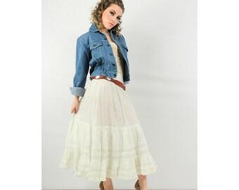 Petticoat / Edwardian white cotton lawn / Vintage crinoline / Tiered prairie skirt XS